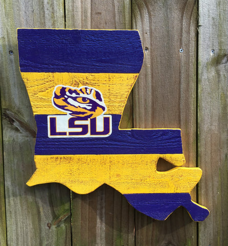 "Louisiana Outline Sign with LSU Tigers Sticker 15""X17"" Man Cave"