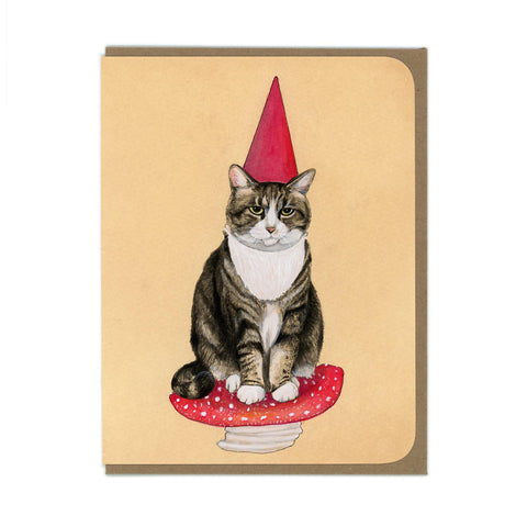Garden Gnome Cat Greeting Card