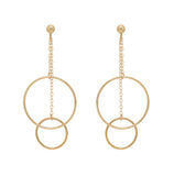 DUo DANGLING HOOPS ON CHAIN STUD