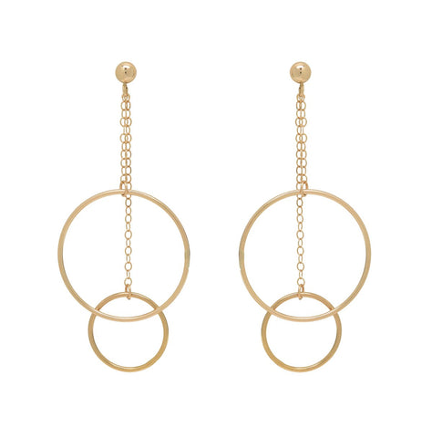DUAL DANGLING HOOPS ON CHAIN STUD