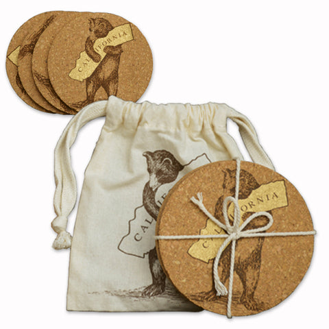 California Bear Hug Cork Coasters