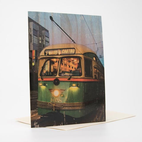 F Line at Dusk greeting card
