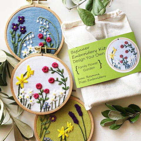 DIY Family Flowers Embroidery Kit