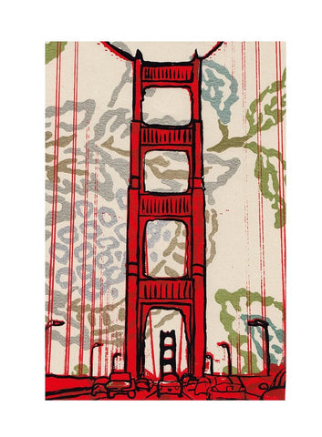 GG Bridge Sunshine Wood Mounted Print