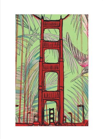 GG Bridge Tropical Wood Mounted Print