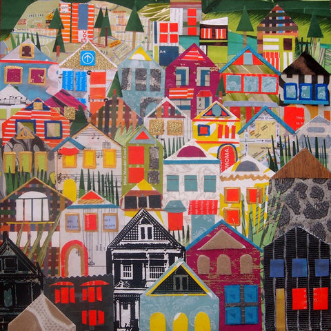 Houses of Noe Valley Wood Mounted Print