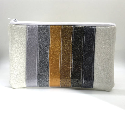 Glitter Zipper Pouch - Gray Stripe