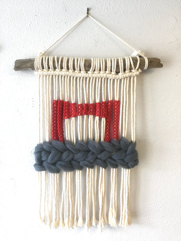 Golden Gate Fog macrame wall hanging