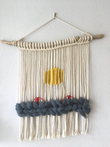 Golden Gate Sun macrame wall hanging
