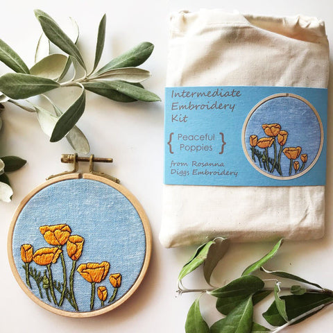 DIY Peaceful Poppies Intermediate Embroidery Kit