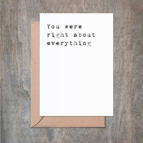 Right About Everything greeting card