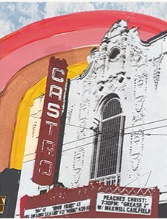Castro Theater Rainbow Wood Mounted Print