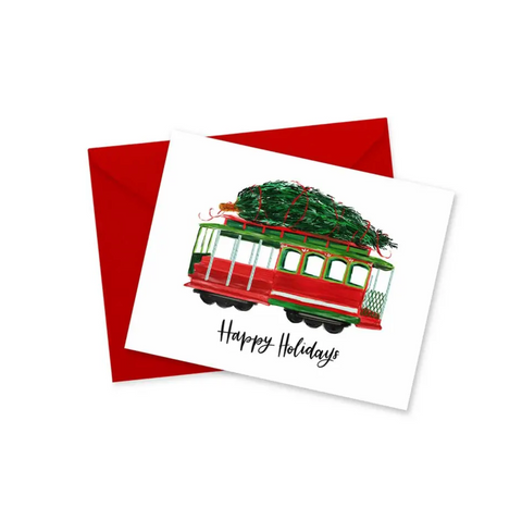 Happy Holidays Trolley Card / Card Pack