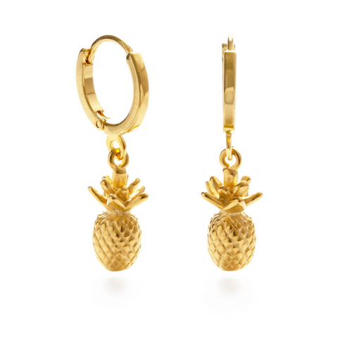 Pineapple huggie hoops