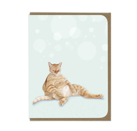 Snoozy Orange Tabby Greeting Card