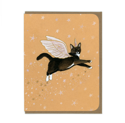 Flying Cat Greeting Card