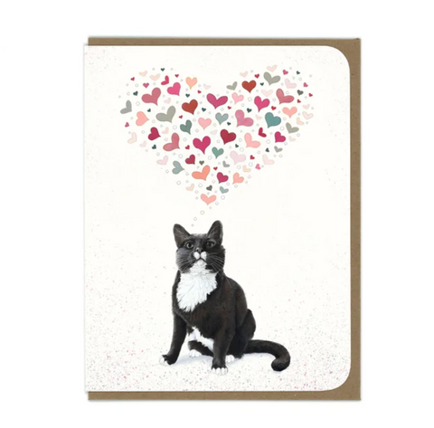 Tuxedo Cat Big Heart Greeting Card