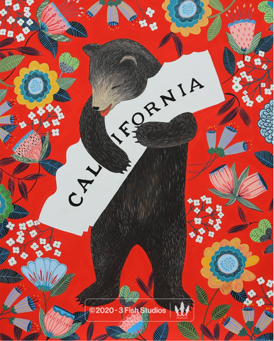 I Love You California Scarlet Print
