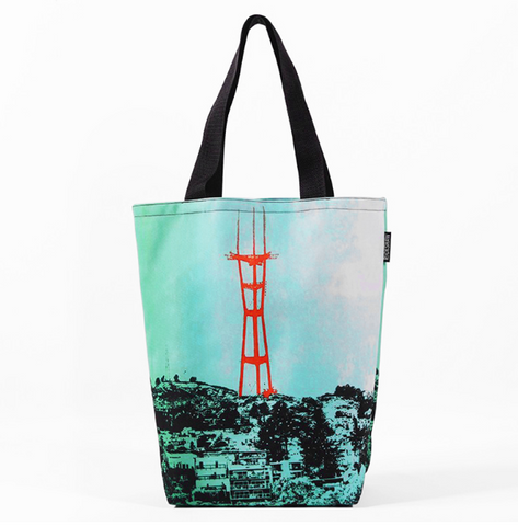 Turquoise Sutro Tower - Jennifer Clifford Tote