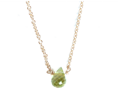 Tiny Peridot Teardrop Necklace