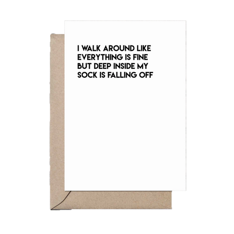 Sock Falling Off greeting card