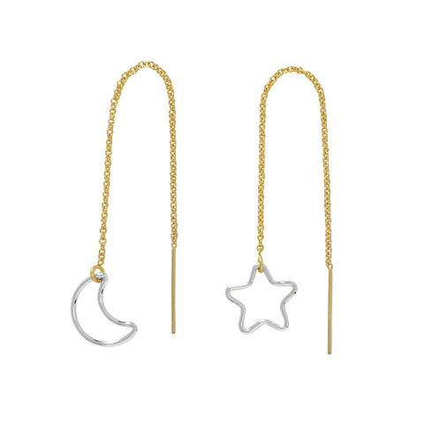 Star Moon Ear Threaders