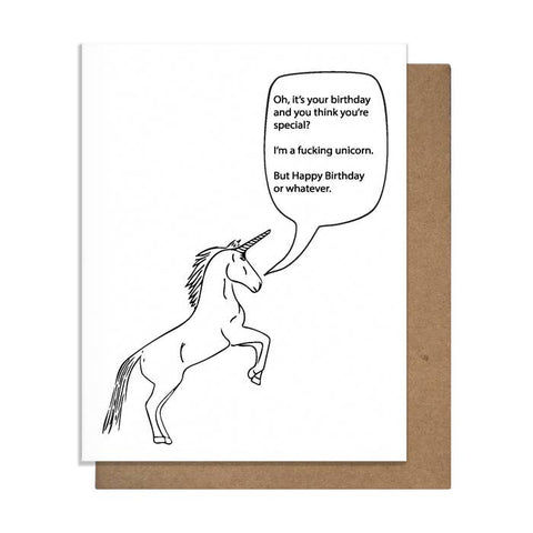 Surly Unicorn Birthday Card