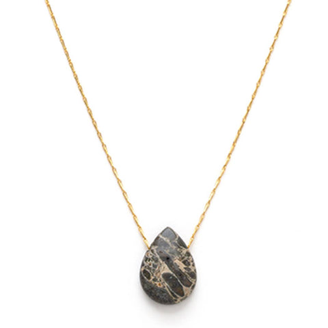 Teardrop Pendant Necklace - Jasper