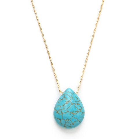 Teardrop Pendant Necklace - Turquoise