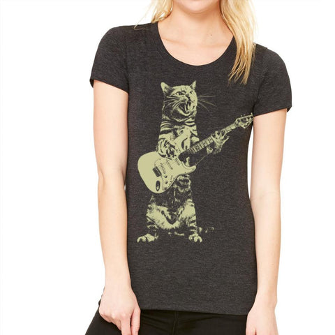 Cat Playing Guitar Women's T-Shirt