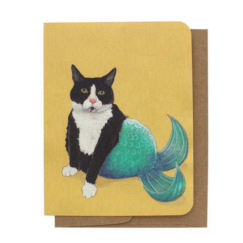Cat Mermaid Greeting Card