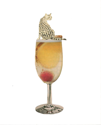 Cat on Cocktail Glass art print