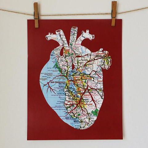 Heart of the Bay Map Cut Print