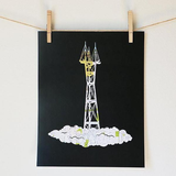 Sutro Tower Map Cut Print