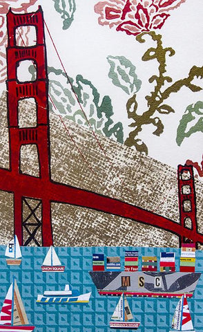 Golden Gate Bridge and Ships Wood Mounted Print