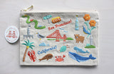 Embriodered SF Zipper Pouch
