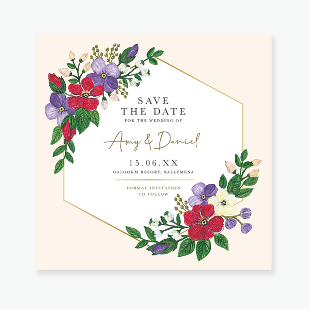 Bold Blooms Save the Date Card