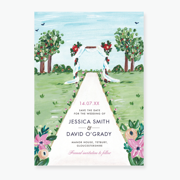 Floral Arch Save the Date Card