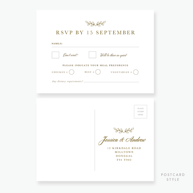 Gold Leaf RSVP Card