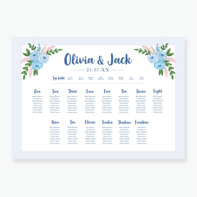 Blue Garden Table Plan