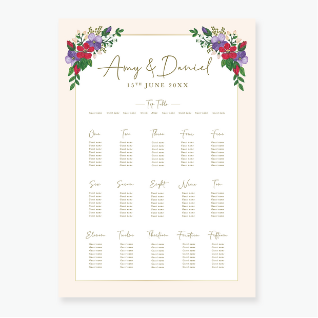 Bold Blooms Table Plan