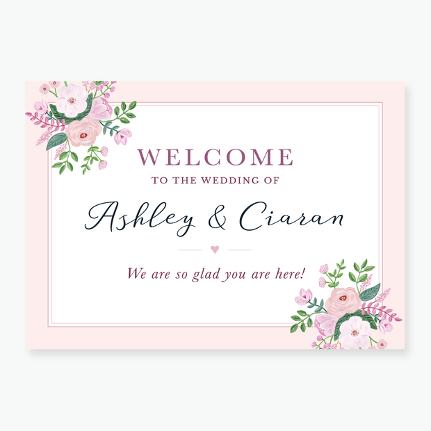 Chic Pink Welcome Board