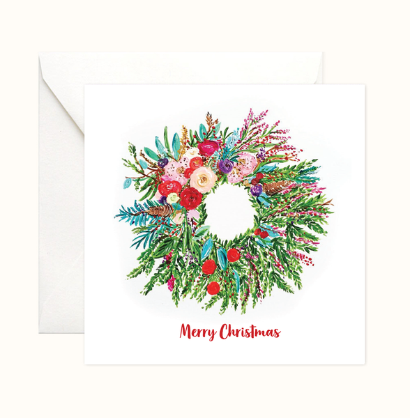 Floral Wreath Christmas Card