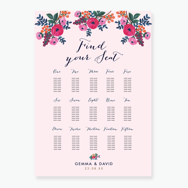 Floral Celebration Table Plan