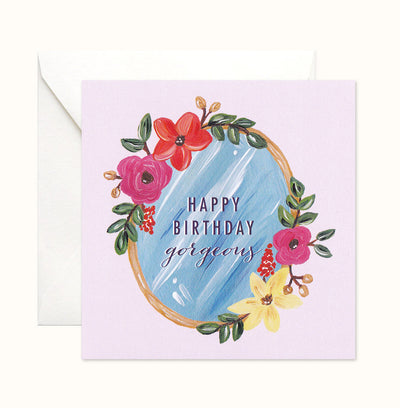 Floral Mirror Birthday card