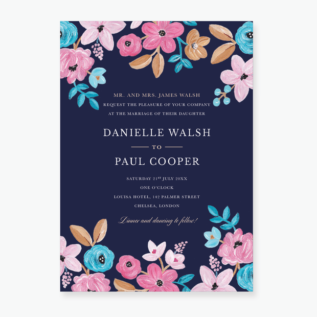 Forever Floral Wedding Invitation