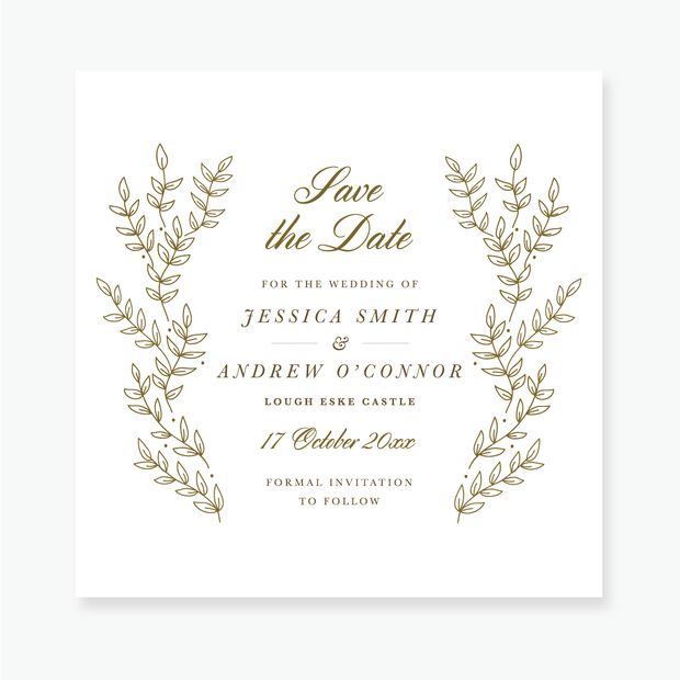 Gold Leaf Save the Date Card