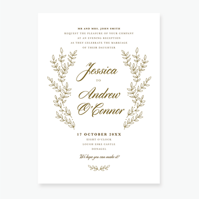 Gold Leaf Evening Invitation