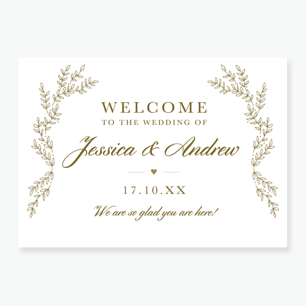 Gold Leaf Welcome Board