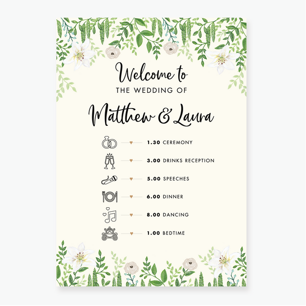 Green Foliage Timeline Board